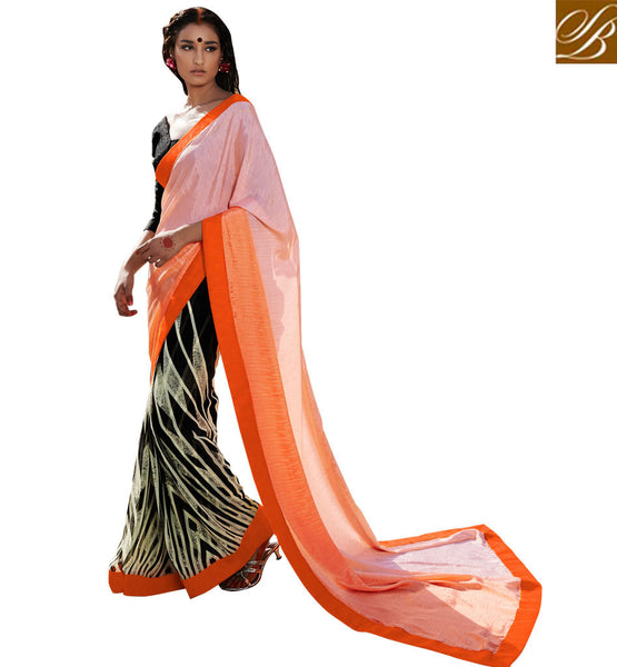MODERN BLOUSE DESIGNS BEST INDIAN SAREES ONLINE SHOPPING LIGHT PINK, BLACK AND OFF WHITE SATIN CASUAL SAREE WITH BLACK BHAGALPURI DESIGNER BLOUSE