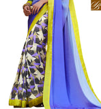 BLUE COLOR SATIN JACQUARD CASUAL SAREE WITH GREY BHAGALPURI DESIGNER BLOUSE DELUXE SAREE LOW PRICE COVERED WITH ABSTRACT PRINTED LOWER PART AND BEAUTIFUL BORDER WORK GEORGETTE FABRIC