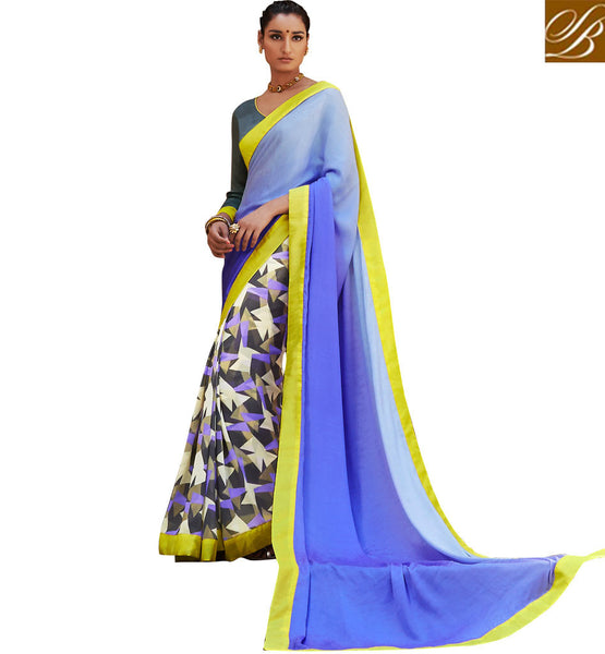BLOUSE DESIGNS WITH BORDER CHEAP INDIAN SAREES ONLINE SHOPPING BLUE COLOR SATIN JACQUARD CASUAL SAREE WITH GREY BHAGALPURI DESIGNER BLOUSE
