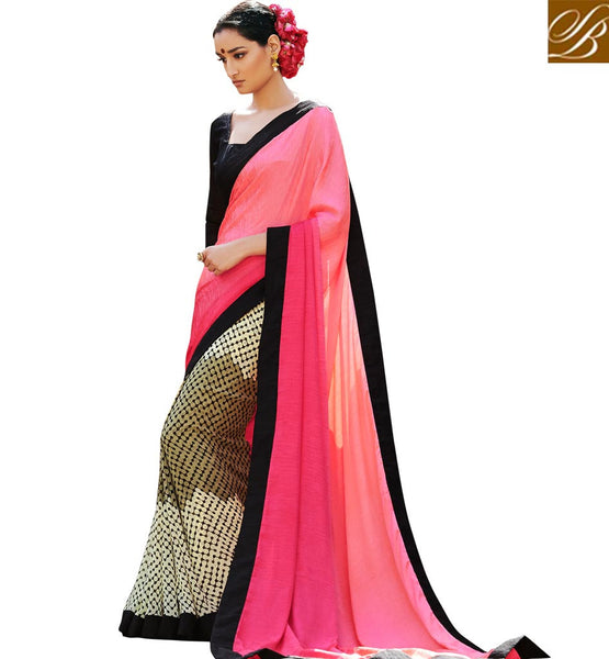 INDIAN BLOUSE DESIGNS CHEAP INDIAN SAREES ONLINE SHOPPING LIGHT PINK OFF WHITE SATIN JACQUARD CASUAL SAREE WITH BLACK BHAGALPURI BLOUSE