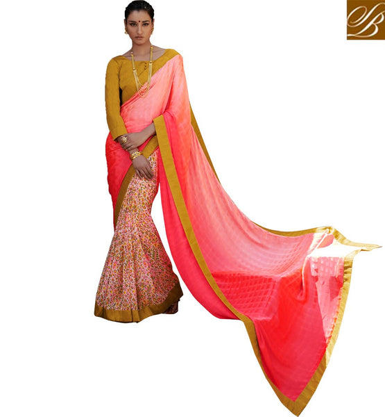 INDIAN BLOUSE DESIGNS OF CASUAL SAREES ONLINE SHOPPING INDIA PEACH AND OFF WHITE SATIN CASUAL SAREE WITH MUSTARD BHAGALPURI DESIGNER BLOUSE