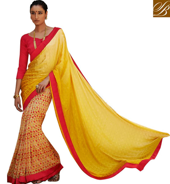 BLOUSE DESIGNS LATEST INDIAN SAREE DRESSES INDIAN CLOTHES FOR WOMEN SIMPLE YELLOW SATIN CASUAL SAREE WITH RED BHAGALPURI DESIGNER BLOUSE