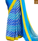 TERRIFIC NEW LOOK SAREE PRINT AT LOWER PART AND JACQUARD STRIPE WEAVING ON PALLU WITH LACE BORDER WORK IN ONLINE BLOUSE DESIGNS FOR DESIGNER SAREES NEW AND LATEST INDIAN OUTFITS