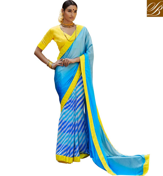 BLOUSE DESIGNS FOR DESIGNER SAREES NEW AND LATEST INDIAN OUTFITS SHADED BLUE SATIN CASUAL SAREE WITH YELLOW BHAGALPURI DESIGNER BLOUSE
