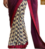 TIP TOP ONLINE SAREE SHOPPING BEAUTIFUL ABSTRACT PRINT AT LOWER AND AWESOME PRINT ON PALLU WITH LACE BORDER WORK STYLISH SAREE BLOUSE DESIGNS INDIAN ETHNIC WEAR ONLINE BAZAAR