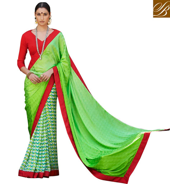 SAREE BLOUSE DESIGNS LATEST AND GOOD-LOOKING INDIAN WEAR ONLINE GREEN COLOR SATIN CASUAL SAREE WITH RED BHAGALPURI DESIGNER BLOUSE