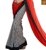 AMAZING ONLINE INDIAN SAREE CHECKERED PRINT AT LOWER PART AND JACQUARD WEAVING ON PALLU WITH LACE BORDER WORK OFFICE WEAR SAREES WITH BLOUSE DESIGNS LATEST COLLECTION OF 2015
