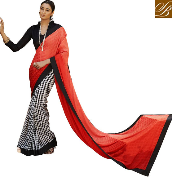 OFFICE WEAR SAREES WITH BLOUSE DESIGNS LATEST COLLECTION OF 2015 ORANGE, OFF WHITE AND BLACK SATIN CASUAL SAREE WITH BLACK BHAGALPURI DESIGNER BLOUSE