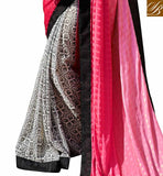 Pink, Off White And Black Satin Indian Ethnic Wear Saree With Satin Black Bhagalpuri Designer Blouse Beautiful Saree Blouse Designs Of Indian Ethnic Wear Online