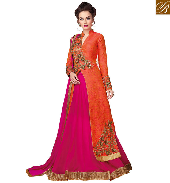 STYLISH BAZAAR GLAMAROUS ORANGE EMBROIDERED LEHENGA STYLE DESIGNER DRESS RTSWR3802