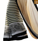 Image of Beige Off-White and Black Satin Modern Casual Saree With Black Bhagalpuri Designer Blouse Modern Saree Blouse Designs New Model For Ladies Casual Wear