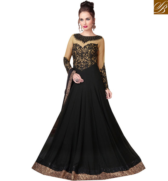 STYLISH BAZAAR BEAUTEOUS BLACK ENGRAVED DRESS WITH MODERN LOOK RTSWR3803