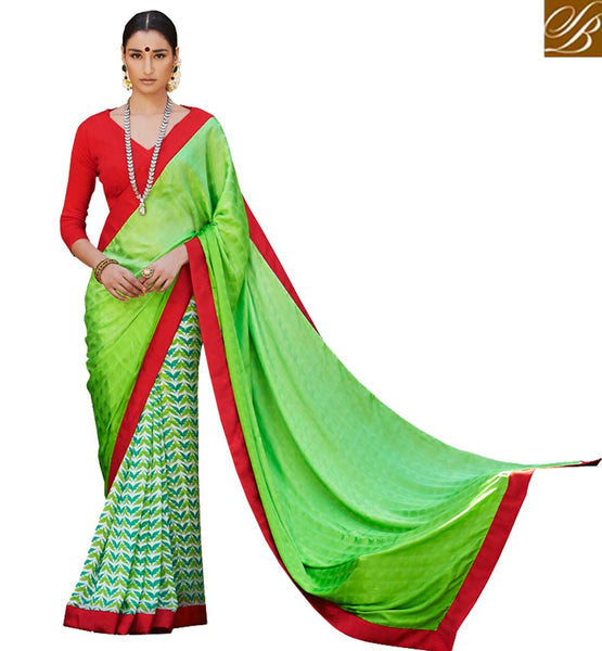 ATTRACTIVE DESIGN OF BLOUSE AND SAREE VDMRN38040  BY GREEN