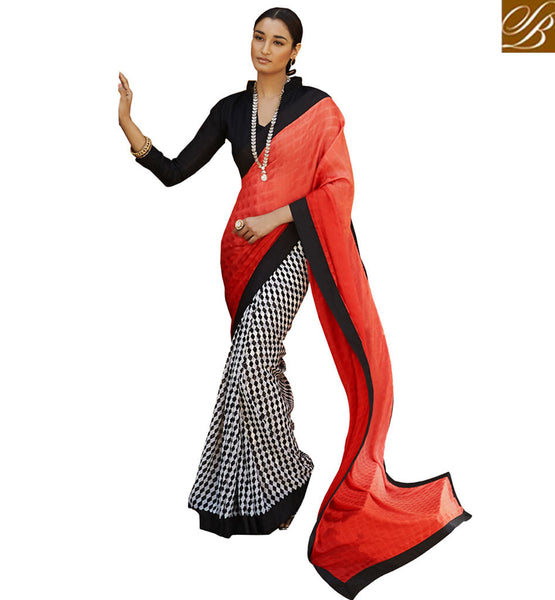 PREMIUM PRINTED DESIGNER SARI DESIGN VDMRN38041 BY ORANGE, OFF WHITE & BLACK