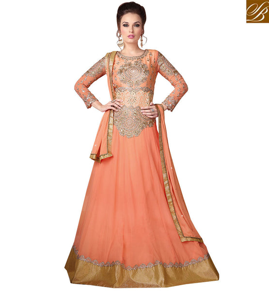 STYLISH BAZAAR CAPTIVATING PEACH DECORATED GOWN STYLE DRESS RTSWR3805
