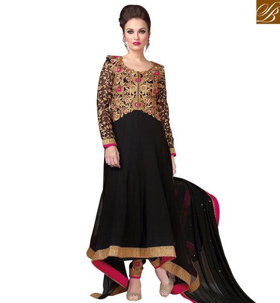 STYLISH BAZAAR BLACK APPEALING  RESHAM EMBROIDERED ANARKALI DRESS RTSWR3806