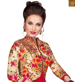STYLISH BAZAAR PRESENTATION AUSPICIOUS RED FLORAL EMBROIDERED WITH JACKET STYLE RTSWR3807