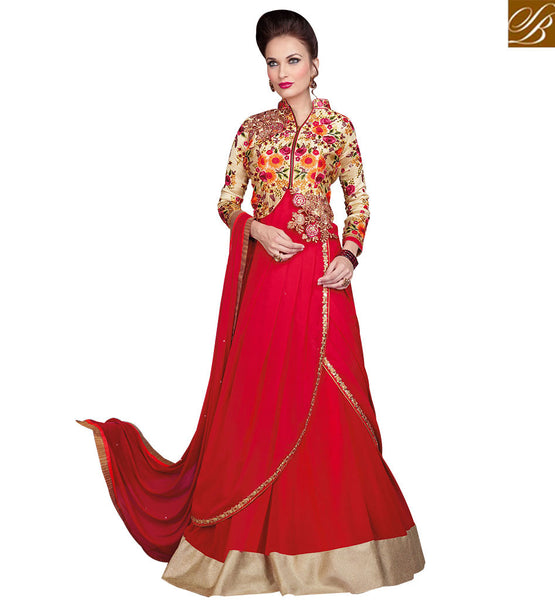 STYLISH BAZAAR AUSPICIOUS RED FLORAL EMBROIDERED WITH JACKET STYLE RTSWR3807
