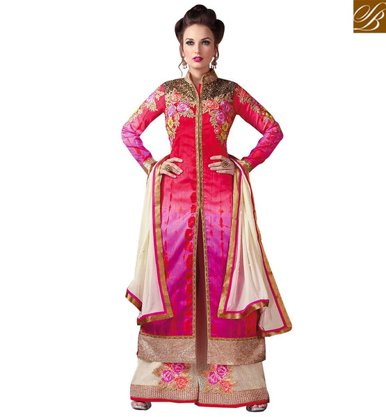 STYLISH BAZAAR LOVELY PINK AND CREAM DESIGNER SUIT WITH PLAZZO STYLE RTSWR3809