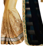 FROM STYLISH BAZAAR RAVISHING BLACK AND CREAM COLORED EMBROIDERED SARI TEAMED UP WITH A CREAM BLOUSE ANOB39