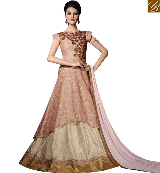STYLISH BAZAAR PRETTY PEACH COLOR NET DESIGNER SUIT WITH GOWN STYLE SLVPL3901