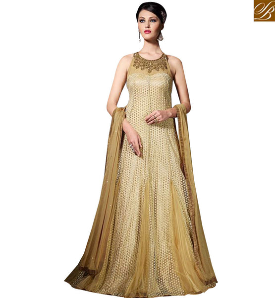 STYLISH BAZAAR SHOP BEIGE NET DESIGNER SALWAR KAMEEZ GOWN STYLE FROM STYLISH BAZAAR SLVPL3903