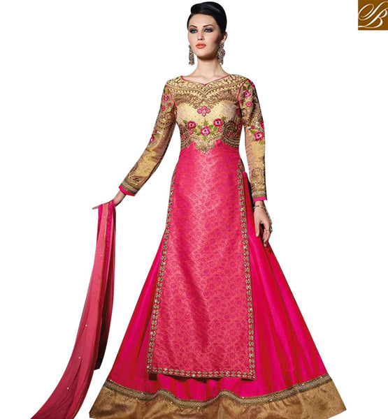 STYLISH BAZAAR BEAUTIFUL PINK GEORGETTE HEAVY EMBROIDERED SUIT IN MODERN STYLE SLVPL3904