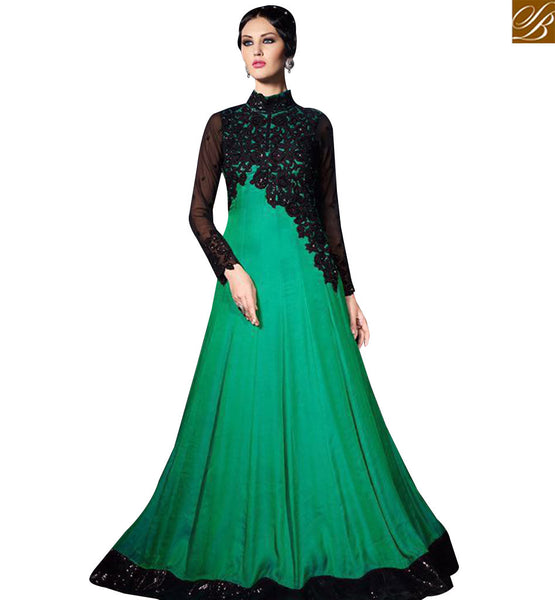 STYLISH BAZAAR ATTRACTIVE GREEN GEORGETTE DESIGNER FLOOR LENGTH GOWN WITH BLACK EMBROIDERY WORK SLVPL3906