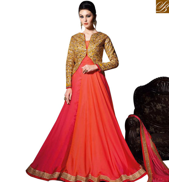 STYLISH BAZAAR MARVELLOUS PINK GEORGETTE DESIGNER GOWN WITH HEAVY EMBROIDERED JACKET SLVPL3907