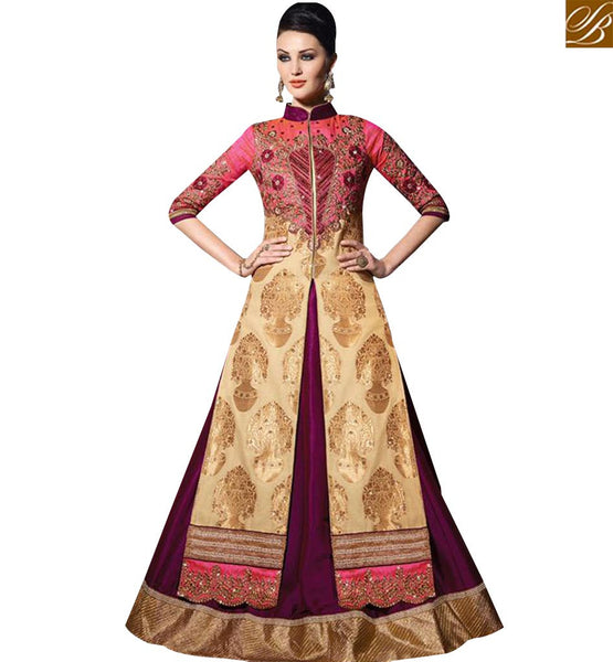 STYLISH BAZAAR GORGEOUS CREAM AND PINK GEORGETTE DESIGNER SUIT WITH LEHENGA STYLE SLVPL3908