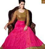 DELIGHTFUL PINK NET FLOOR LENGTH DESIGNER GOWN WITH MEHENDI COLOR DUPATTA SLVPL3909