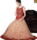 DAZZLING CREAM COLOR NET WITH MAROON EMBROIDERY WORK IN GOWN STYLE SLVPL3910