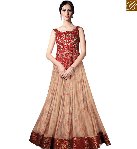 STYLISH BAZAAR DAZZLING CREAM COLOR NET WITH MAROON EMBROIDERY WORK IN GOWN STYLE SLVPL3910