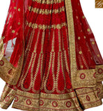 FROM STYLISH BAZAAR PLEASING MAROON NET DESIGNER LEHENGA CHOLI WITH HEAVY EMBROIDERY WORK SLGAJ396A
