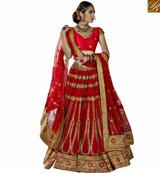 STYLISH BAZAAR PLEASING MAROON NET DESIGNER LEHENGA CHOLI WITH HEAVY EMBROIDERY WORK SLGAJ396A