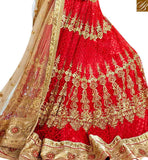 A STYLISH BAZAAR PRESNTATION ATTRACTIVE MAROON NET DISPLAYING HEAVY EMBROIDERED LEHENGA CHOLI SLGAJ397B