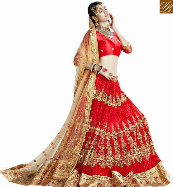 STYLISH BAZAAR ATTRACTIVE MAROON NET DISPLAYING HEAVY EMBROIDERED LEHENGA CHOLI SLGAJ397B