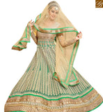 STYLISH BAZAAR RAVISHING BRIDAL WEAR SEA GREEN COLORED EMBROIDERY WORK WITH LACE ANARKALI SALWAR KAMEEZ MNJ27001