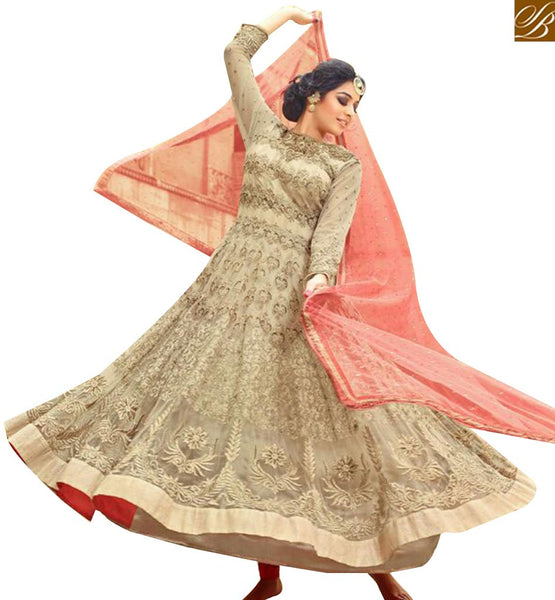 STYLISH BAZAAR ELEGANT CREAM COLORED NET DESIGNER EMBROIDERY WORK ANARKALI SALWAR SUITS MNJ27003