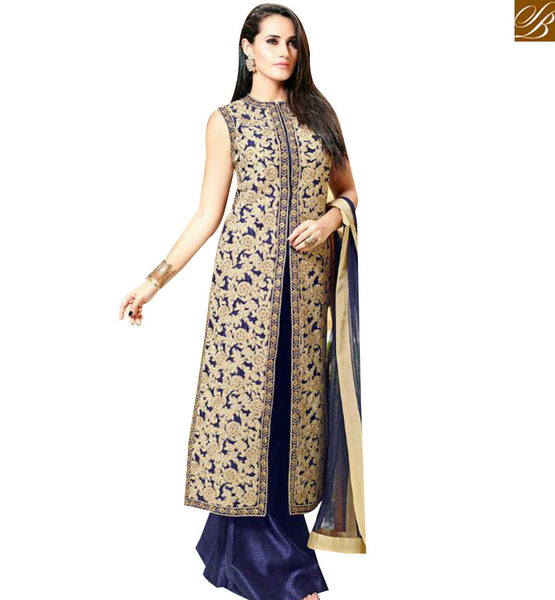 STYLISH BAZAAR MAGNIFICENT LOVELY NAVY BLUE TOP BEAUTIFUL EMBROIDERY WORK WITH SLIT CUT PLAZZO SALWAR KAMEEZ MNJ27007