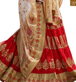 STYLISH BAZAAR PRESENTS MAGNIFICENT MAROON NET PLANTED LEHENGA CHOLI WITH BEIGE EMBROIDERED DUPATTA SLGAJ399A