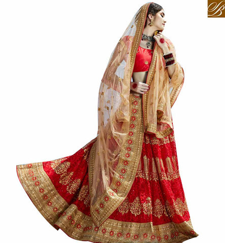 STYLISH BAZAAR MAGNIFICENT MAROON NET PLANTED LEHENGA CHOLI WITH BEIGE EMBROIDERED DUPATTA SLGAJ399A