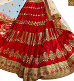FROM STYLISH BAZAAR MAGNIFICENT MAROON NET PLANTED LEHENGA CHOLI WITH BEIGE EMBROIDERED DUPATTA SLGAJ399B