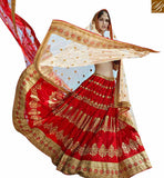 STYLISH BAZAAR MAGNIFICENT MAROON NET PLANTED LEHENGA CHOLI WITH BEIGE EMBROIDERED DUPATTA SLGAJ399B