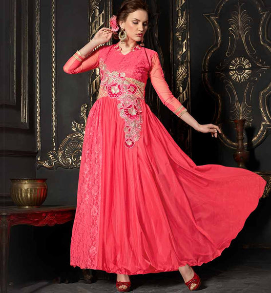 BEST OFFER ON EVERSTYLISH INDIAN EVENING WEAR NET LADIES MAXI GOWN