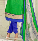 GREEN CASUAL WEAR CHANDERI COTTON SALWAR KAMEEZ WITH NAZNEEN DUPATTA VDANT7003