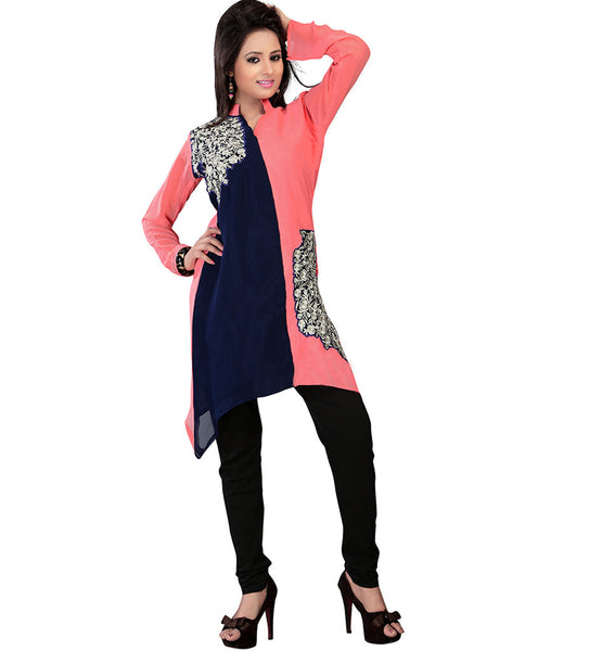EXCITING DUAL COLOR TRENDY GEORGETTE KURTI RTAK3B