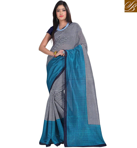 FROM THE HOUSE  OF STYLISH BAZAAR SPLENDID BLUE DESIGNER PRINT SARI RTVAN3