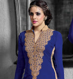BEWITHCIHNG BLUE SALWARSUIT WITH HEAVY EMBROIDERY ON NECK SUPERB STYLING