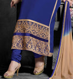 BLAZING BLUE  PARTY WEAR STRAIGHT CUT SALWAR SUIT  WITH BLUE SALWAR AND NAZNEEN DUPATTA